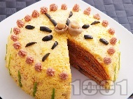 Вкусна домашна празнична солена палачинкова торта с пастет и гъби